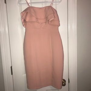 Adelyn Rae light pink strapless ruffle dress